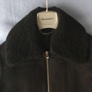Belstaff Black Wool Coat w Detachable Collar